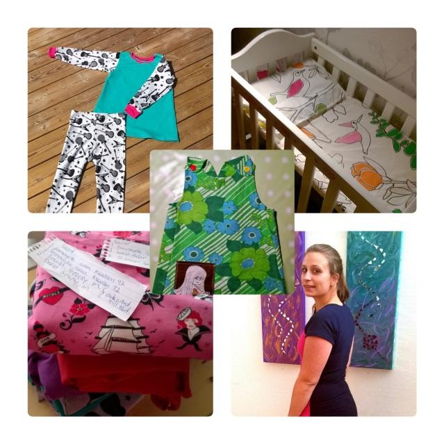 Det här är några av sakerna jag hunnit sy sedan mitt intresse tog fart. Än så länge mest till dottern, men en klänning har jag hunnit göra till mig själv.